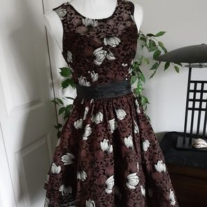 Tracy Reese Frock tea dress 2 brown floral